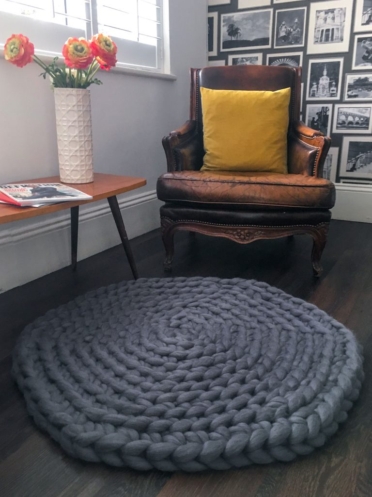 Giant Crochet Rug - Grey