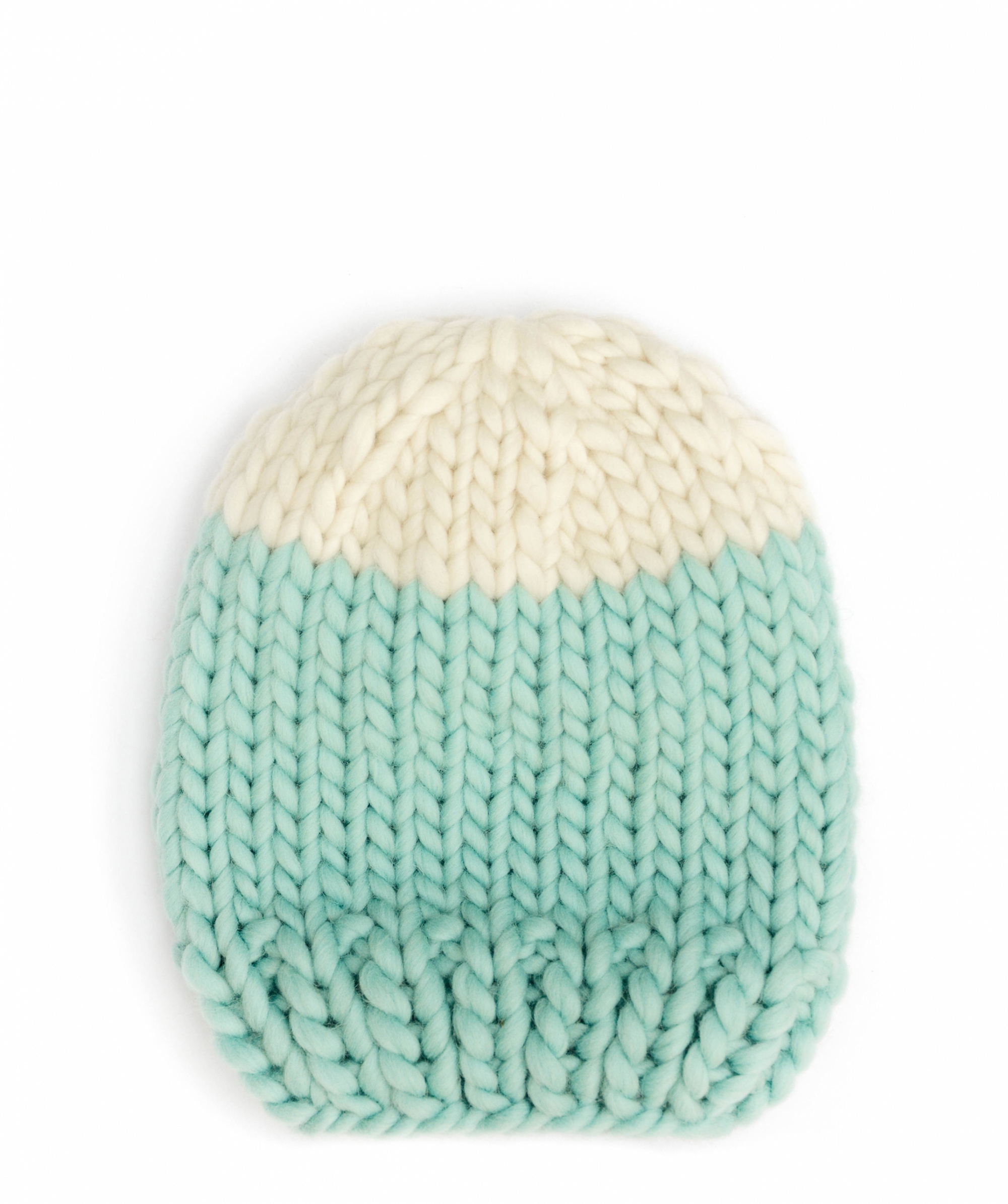 Handmade wool hats - Aqua and Ivory block colour beanie. Click to customise.