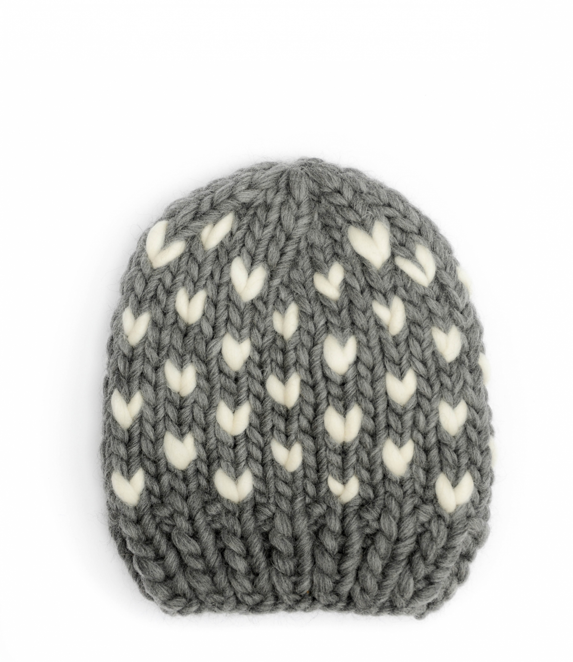 Handmade wool hats - Grey beanie with Ivory heart detail. Click to customise.