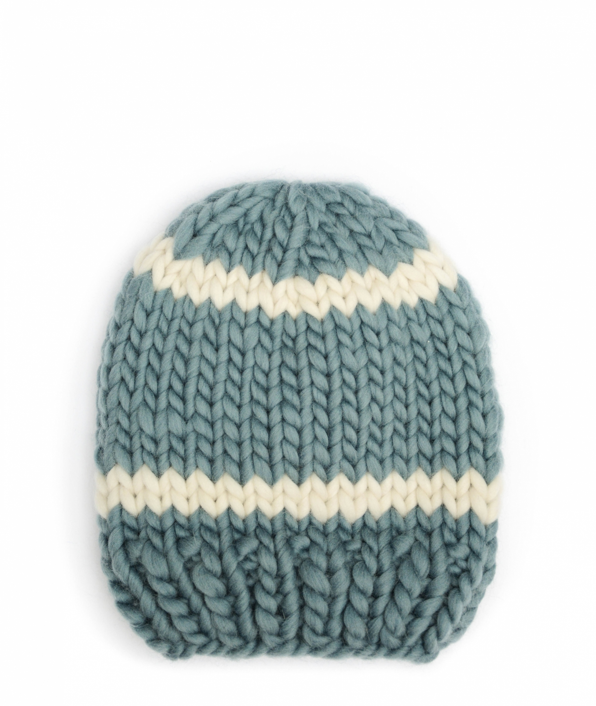 Handmade wool hats - Stone and Ivory striped beanie. Click to customise.