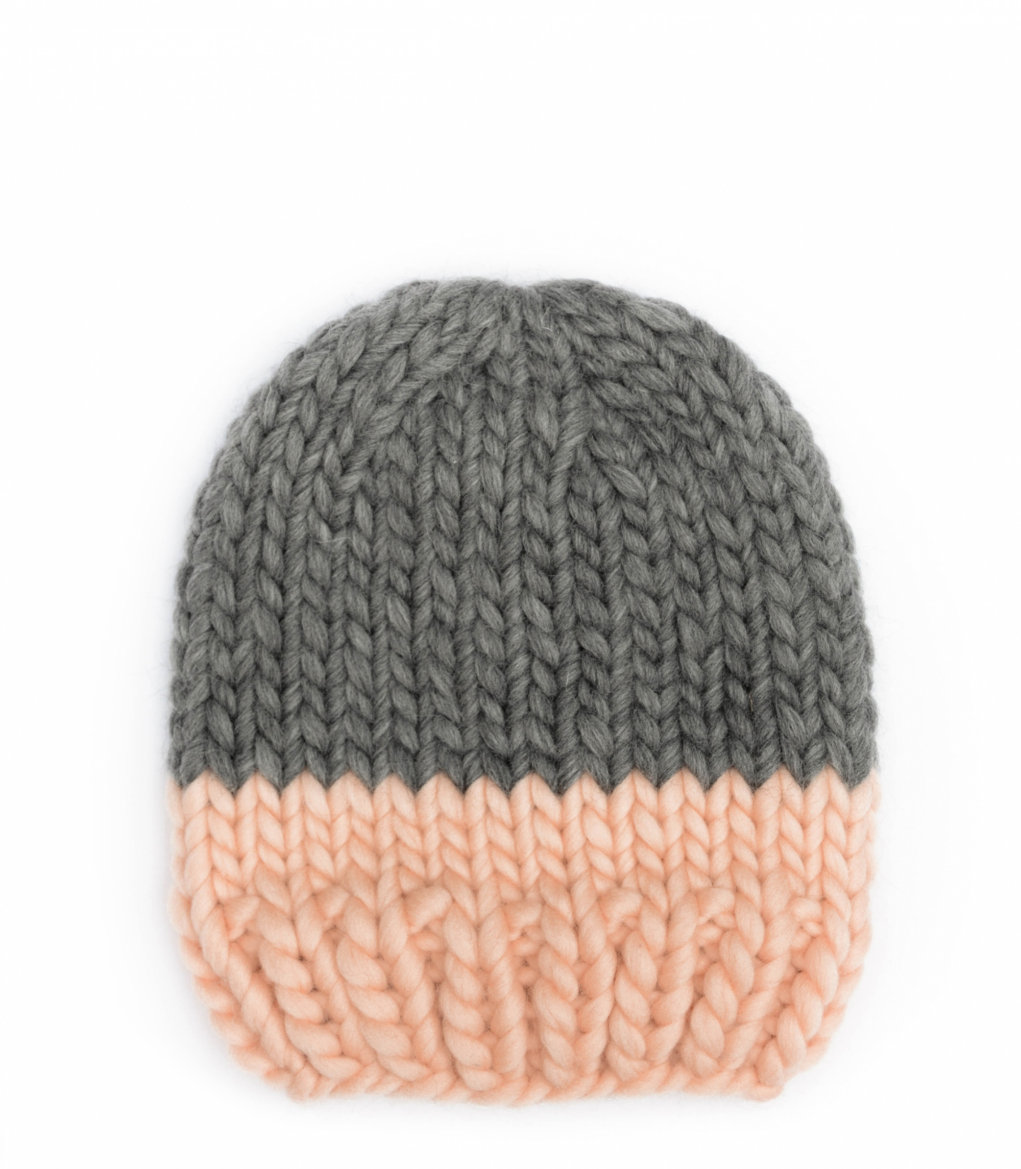Handmade wool hats - Peach and Grey block colour beanie. Click to customise.