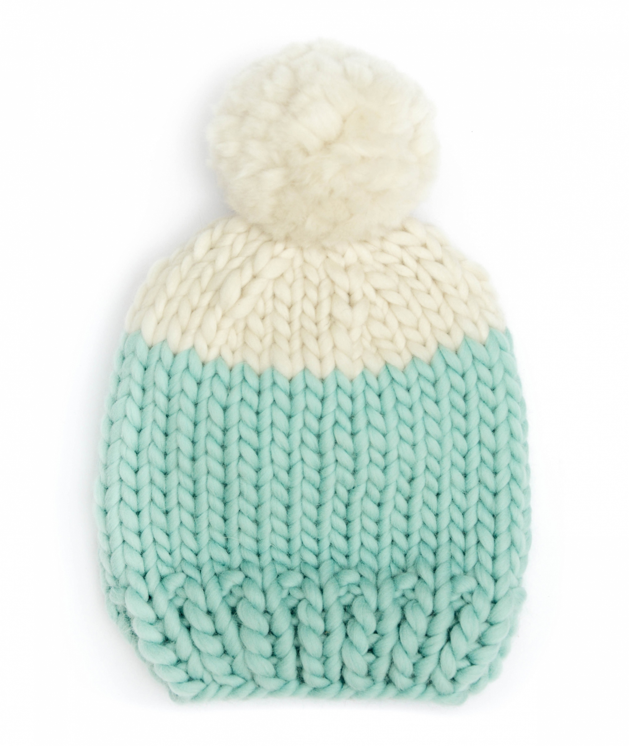 Handmade wool hats - Aqua and Ivory block colour bobble hat with Ivory pom pom. Click to customise.