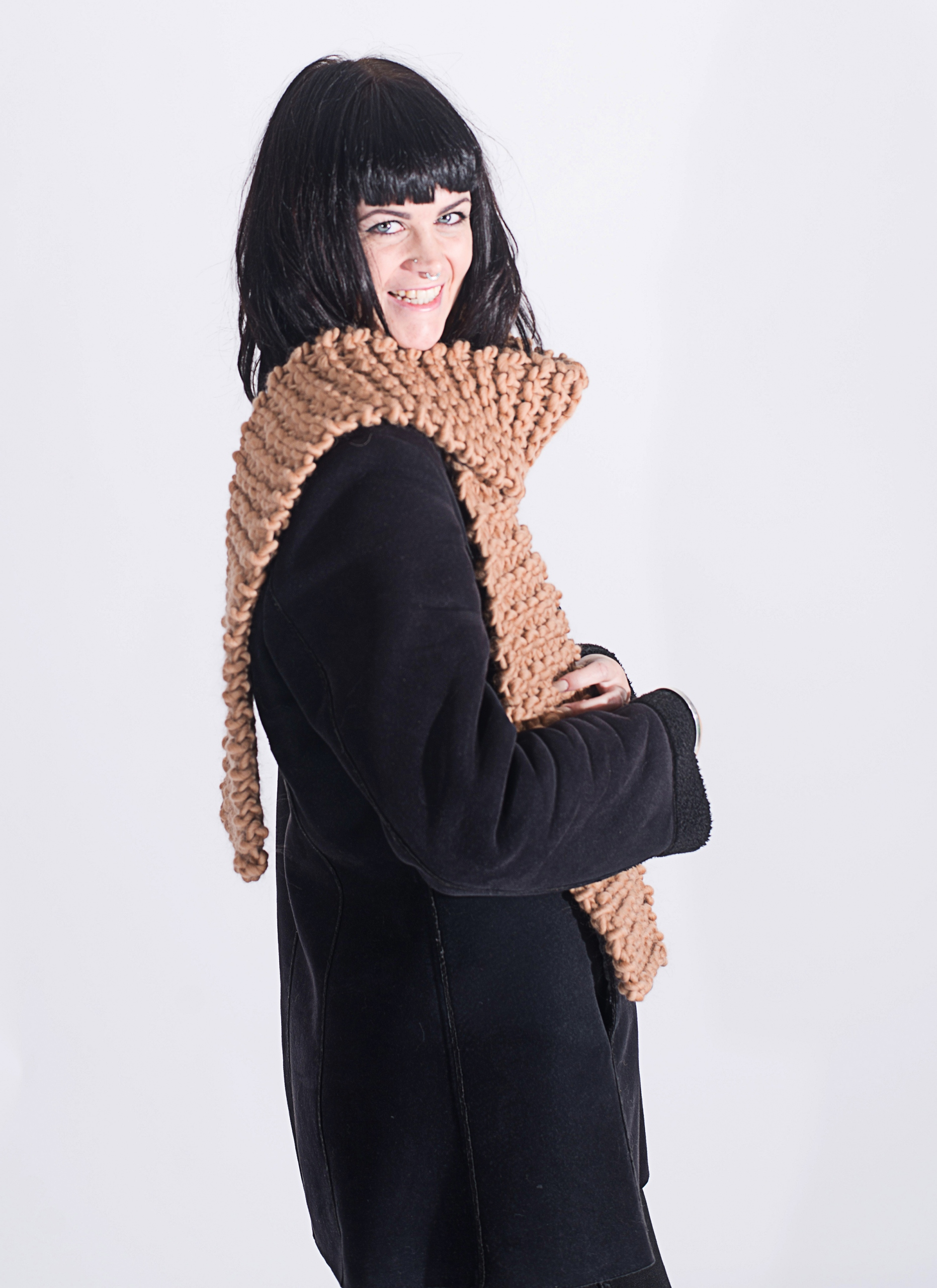 Handmade woolly scarves - Beige scarf . Click to customise.