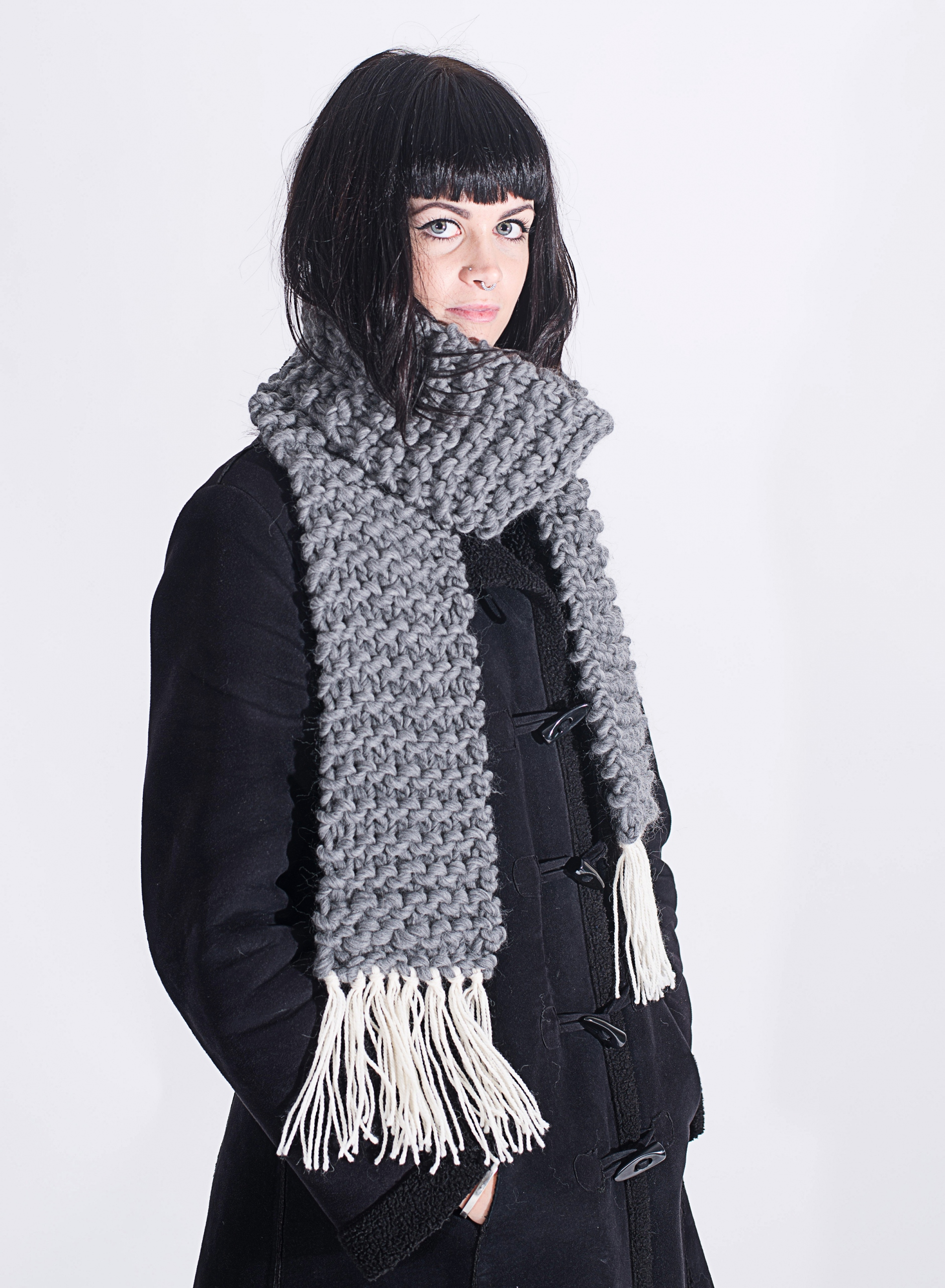 Handmade woolly scarves - Grey scarf with Ivory tassels. Click to customise.
