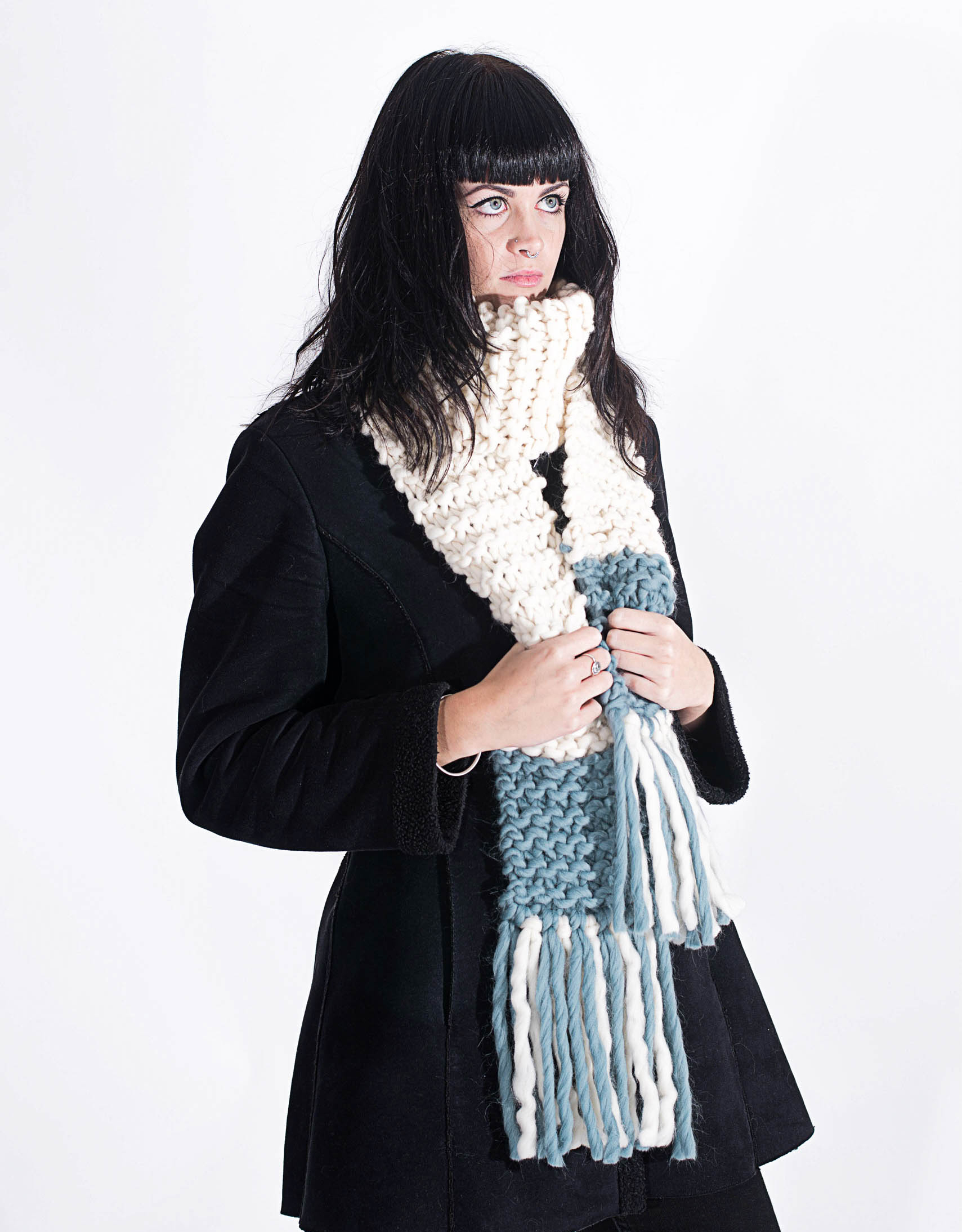 Handmade woolly scarves - Ivory and Stone scarf with woolly tassels. Click to customise.