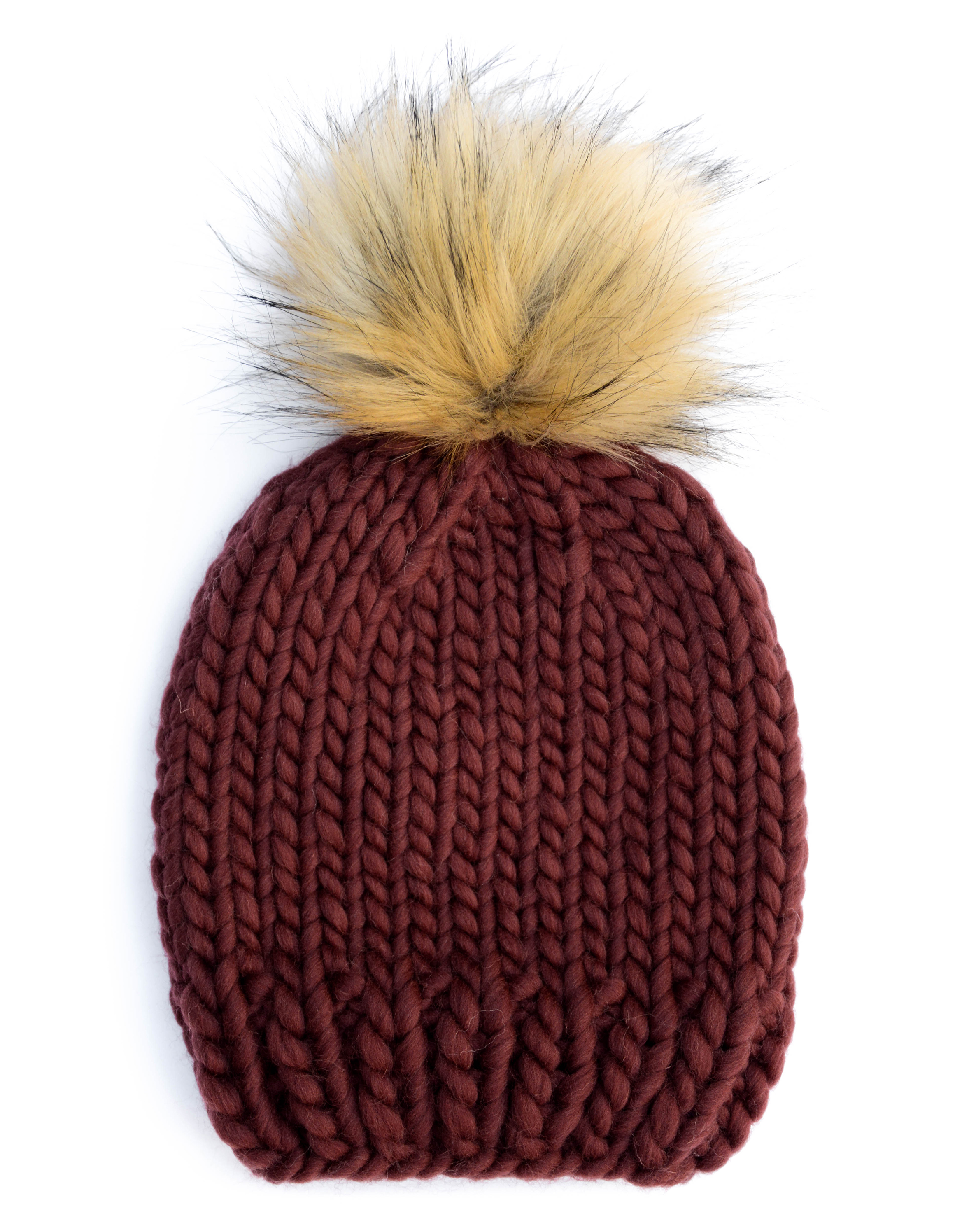 Handmade wool hats - Maroon bobble hat with a natural furry pom pom. Click  to 14459597d0e