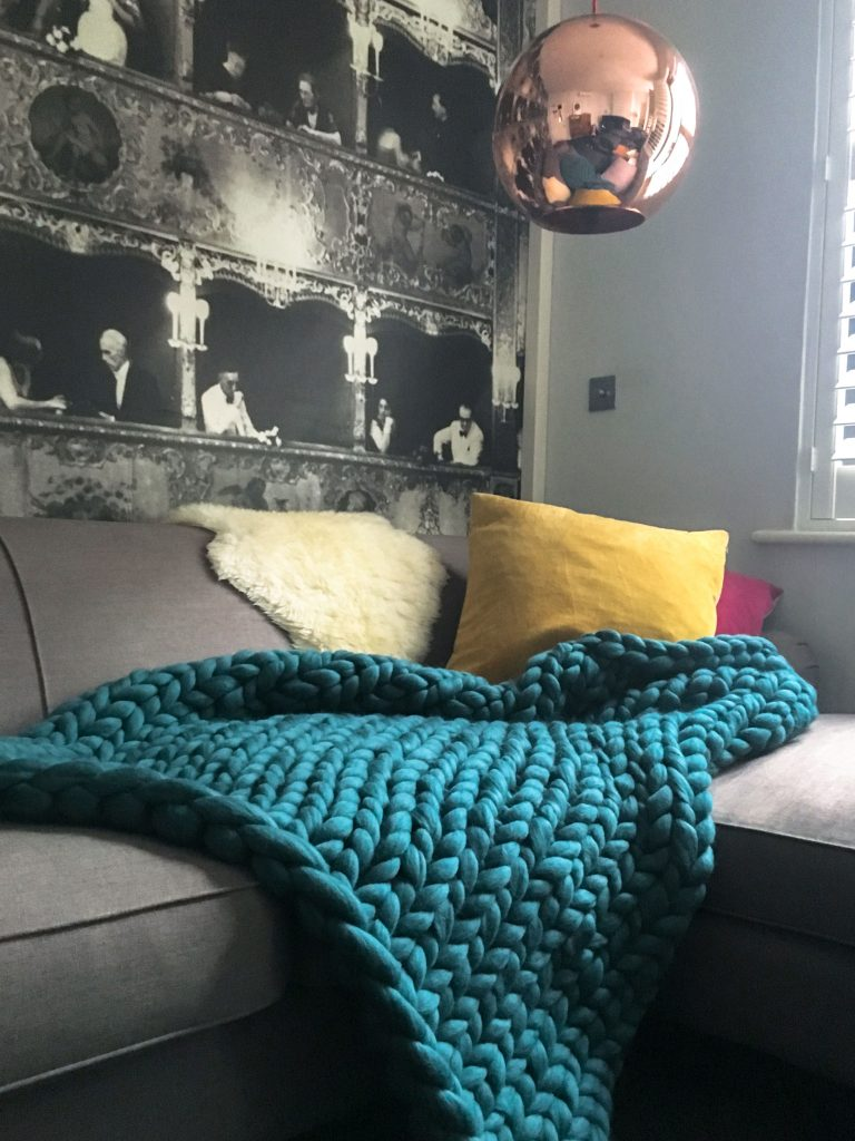 Giant Knit Blanket - Teal