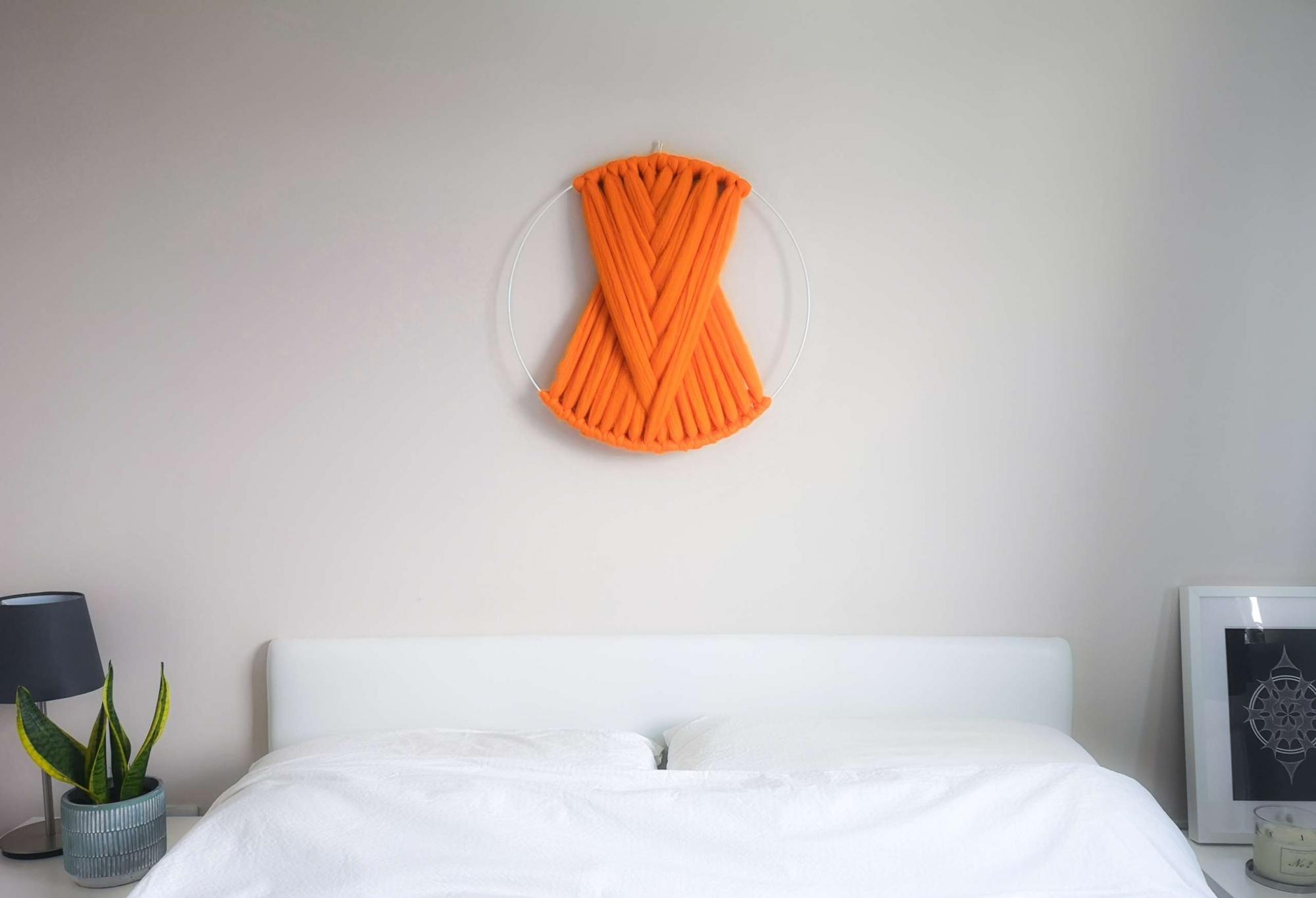 off the wool large macrame wall hanging orange 03