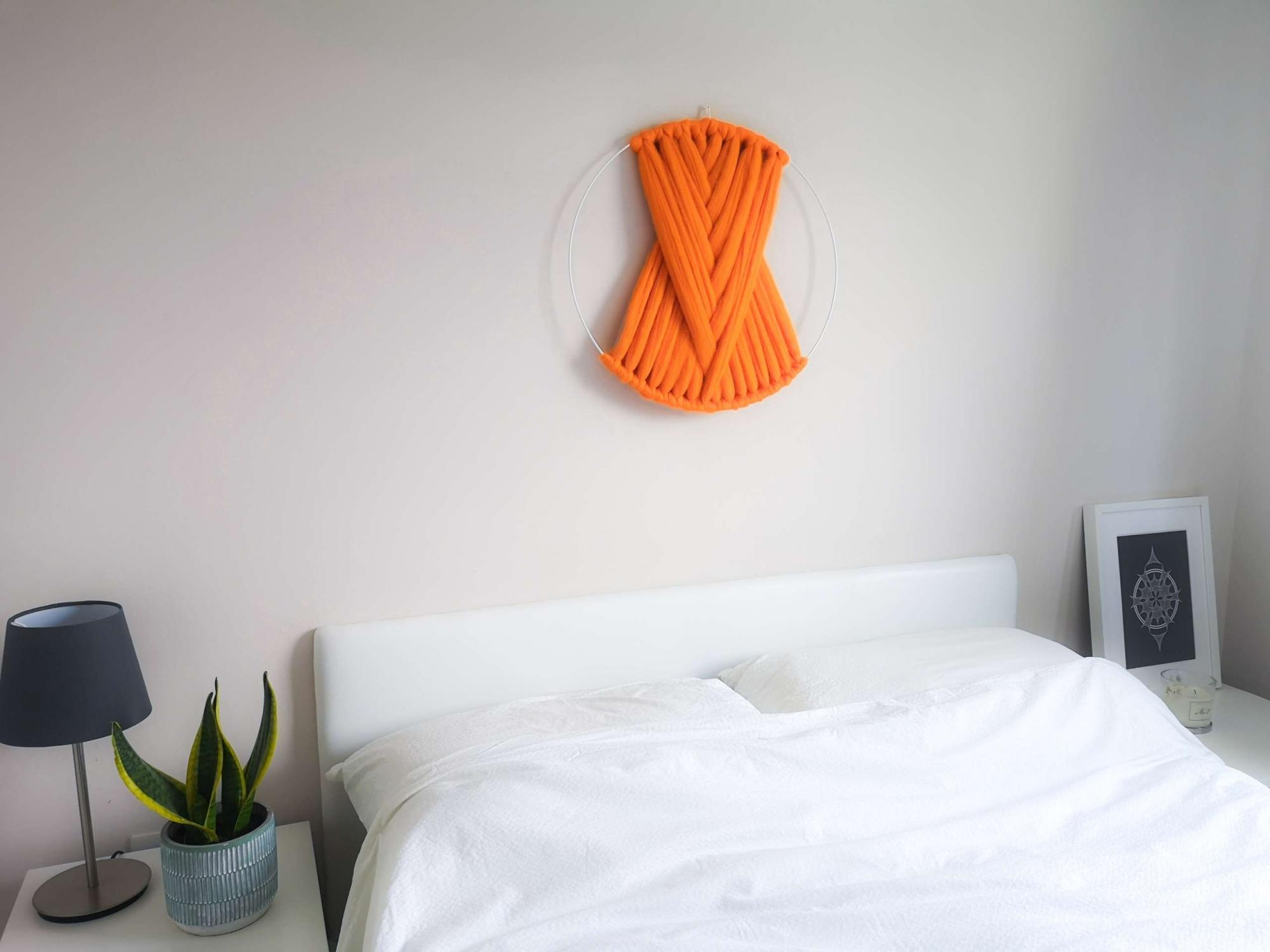off the wool large macrame wall hanging orange 02